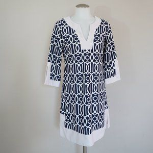 Jude Connally Printed Navy & White Tunic Dress